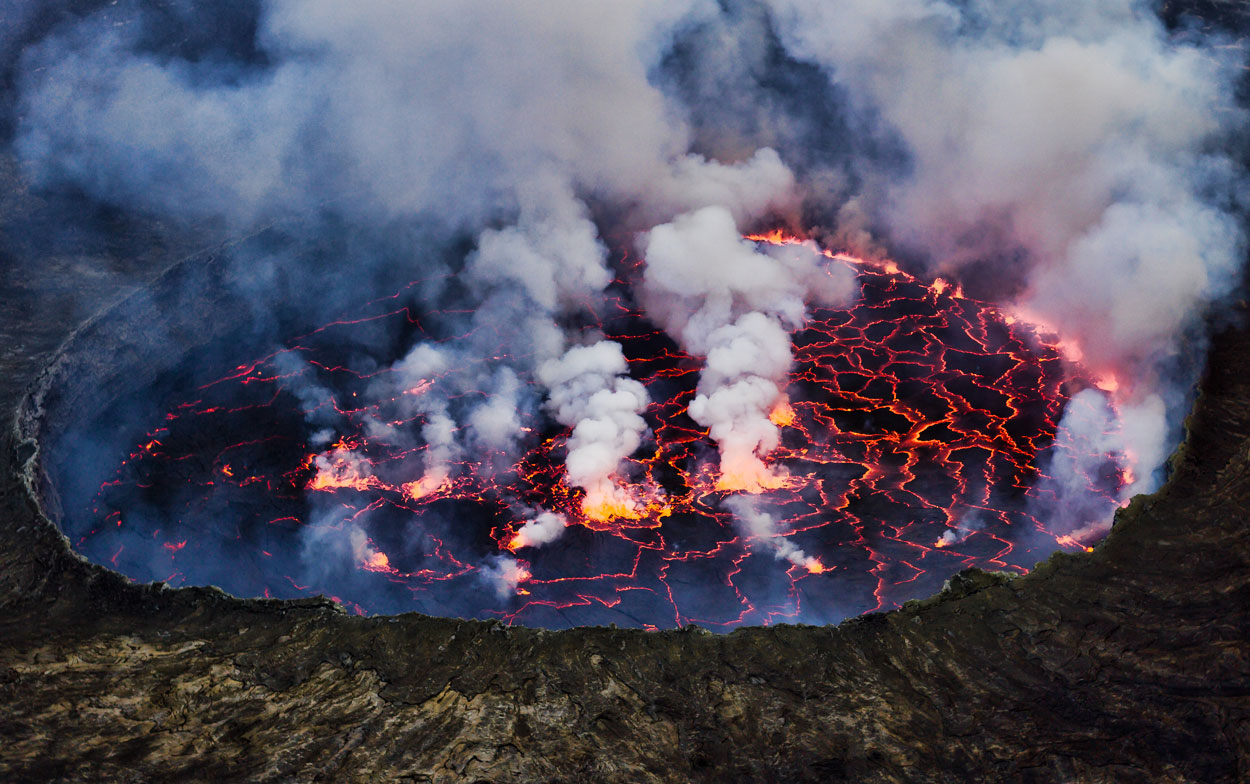 Mount Nyiragongo, D.R. of Congo - most famous volcanoes